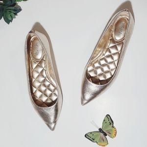 Michael Kors | Gold Pointy Metallic Ballet Flats